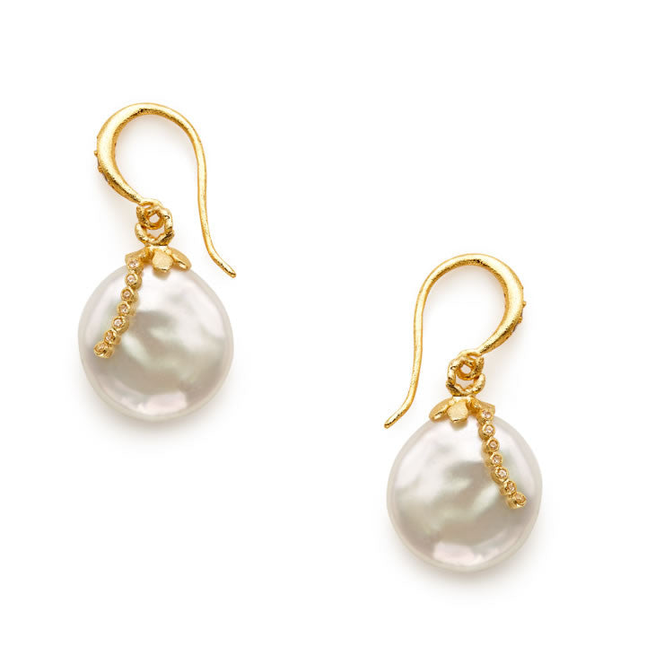 Fleur Coin Pearl Earrings - indulgems