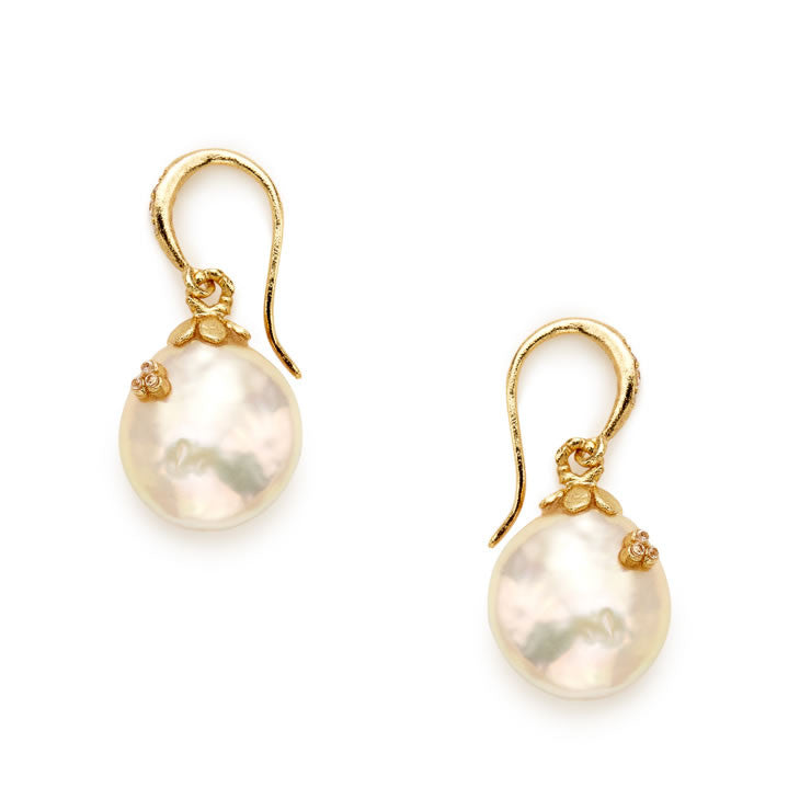 Fleur Pink Coin Pearl Earrings - indulgems - 1