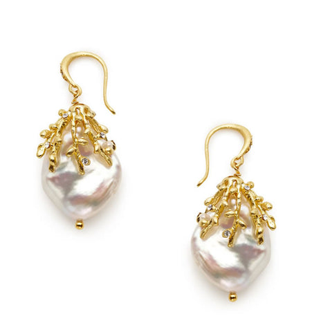 Willow Keshi Pearl Earrings - indulgems - 1