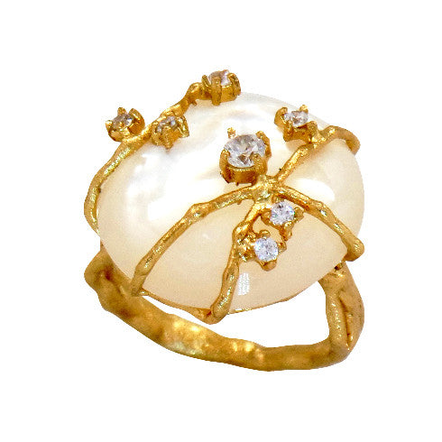 Celeste White Mother of Pearl Ring - indulgems - 2
