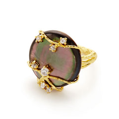 Celeste Black Mother of Pearl Ring - indulgems - 1