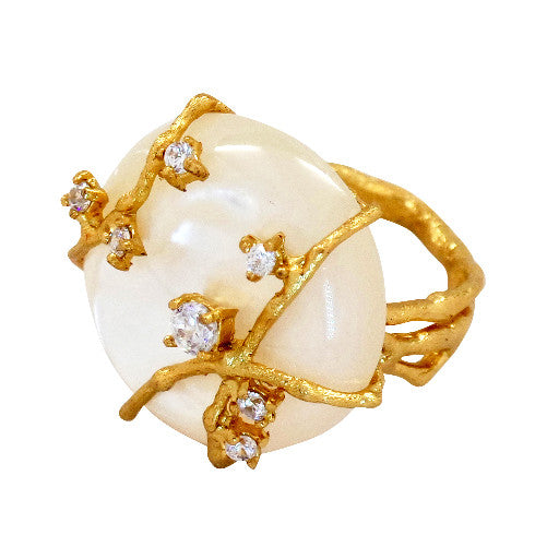 Celeste White Mother of Pearl Ring - indulgems - 1