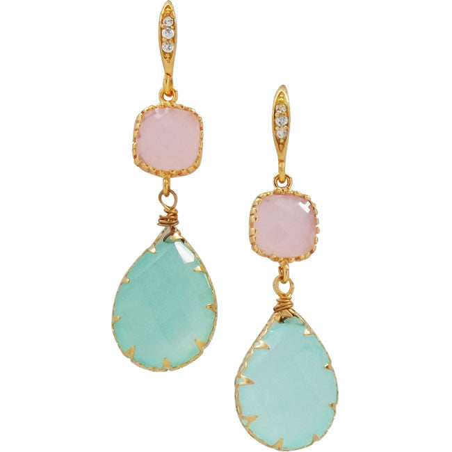 Rock Candy Aqua Rose Earrings - indulgems