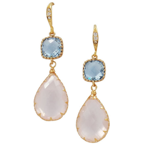 Rock Candy Rose and Sapphire Top Earrings - indulgems