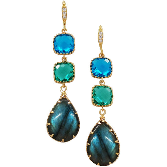 Rock Candy Caribbean Blue Earrings - indulgems