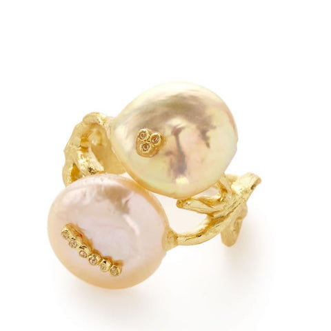 Fleur Pink Coin Pearl Ring - indulgems - 1