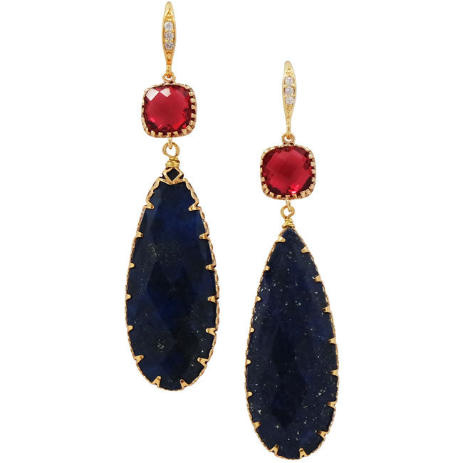 Rock Candy Deep Hue Lapis Blue Earrings - indulgems