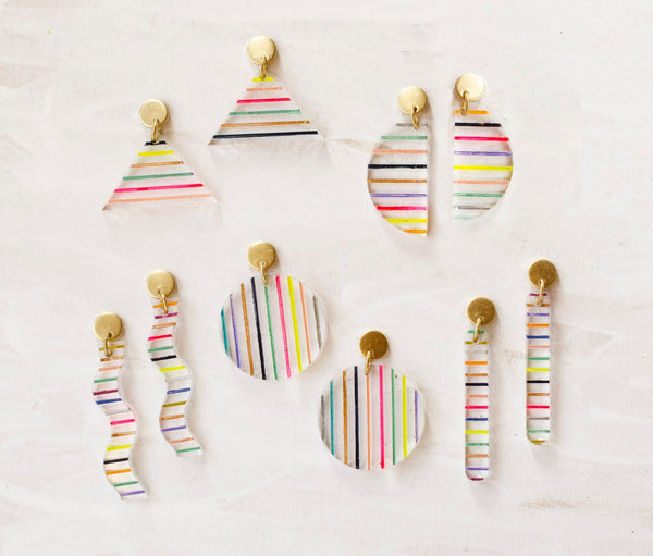 Clear Acrylic Stripe Earrings