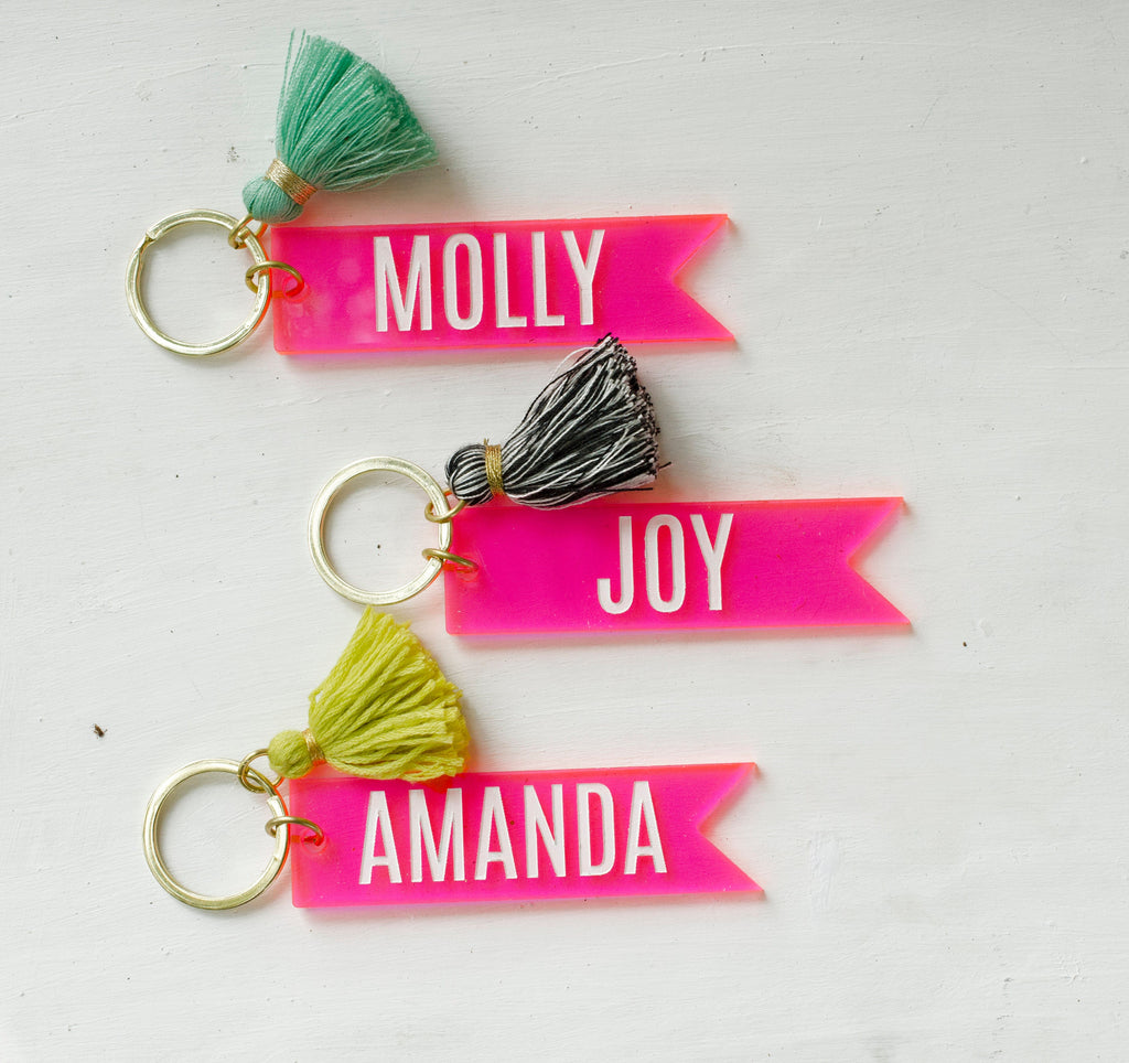 Pink Banner Name Keychains