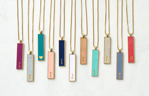 Rectangular Initial Clay Necklace