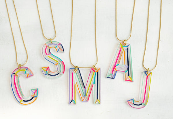 Rainbow Initial Acrylic Necklace