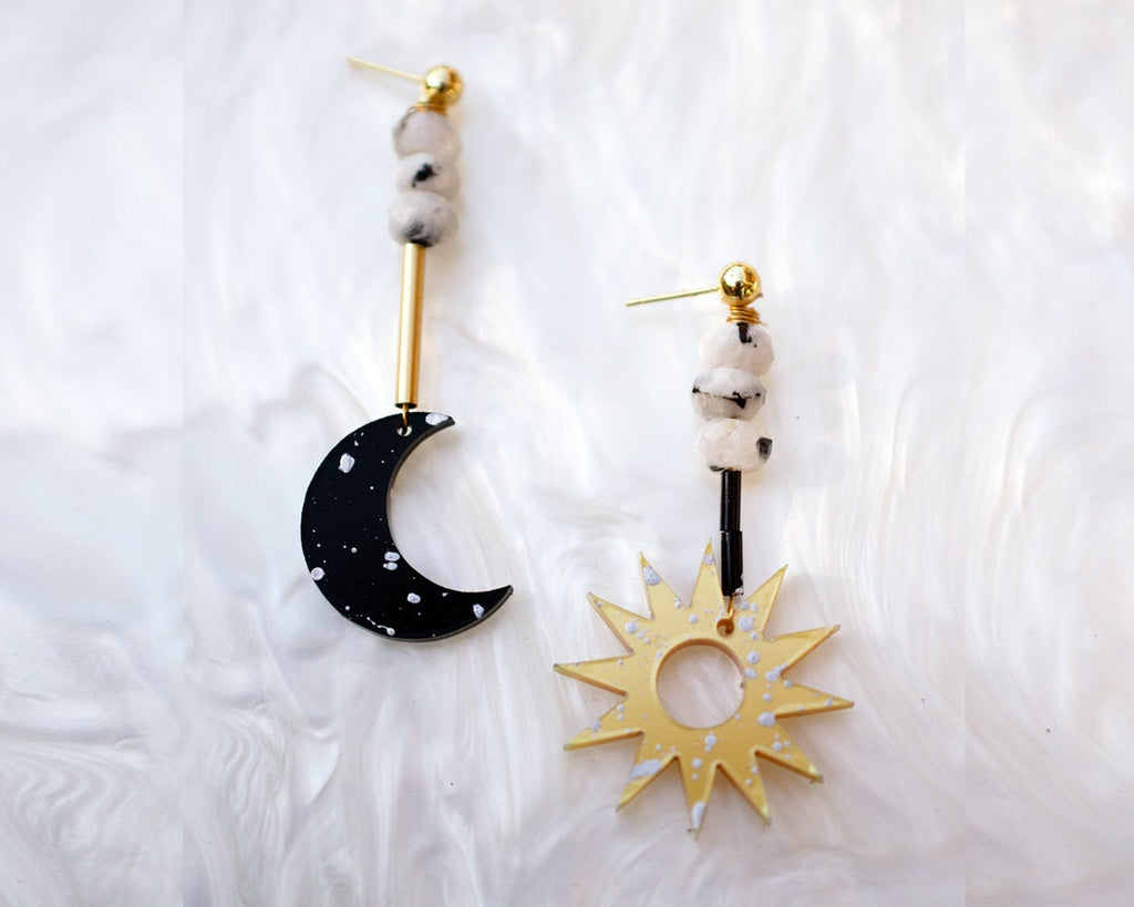 Sun and Moon Moonstone Earrings