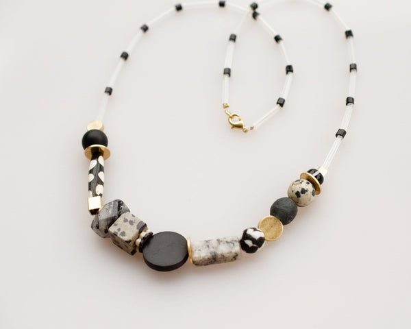 Black and White Beaded Statement Necklace
