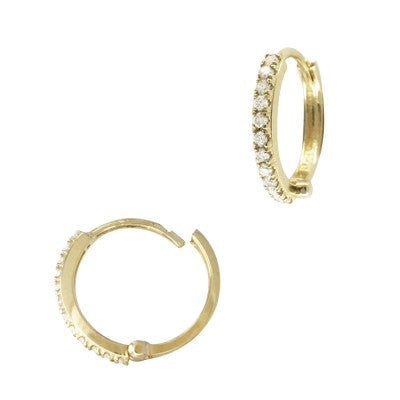 Pave Diamond Hoops