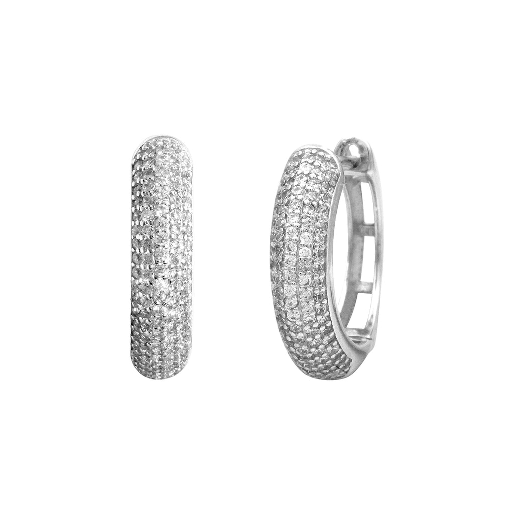 Small Ava Pave Hoops-Silver