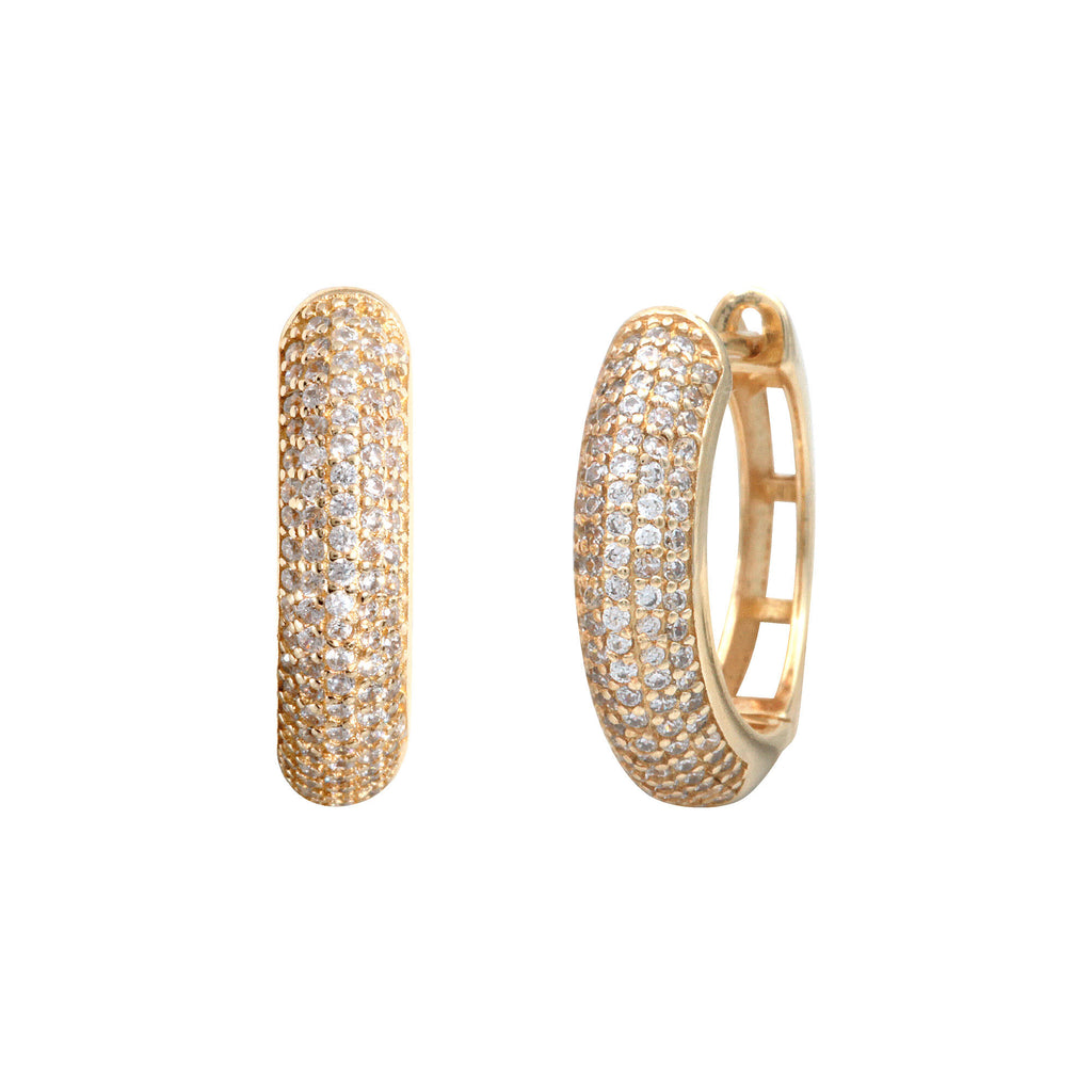 Small Ava Pave Hoops-Gold