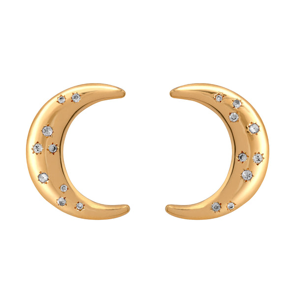 La Luna White Sapphire Earrings-Gold