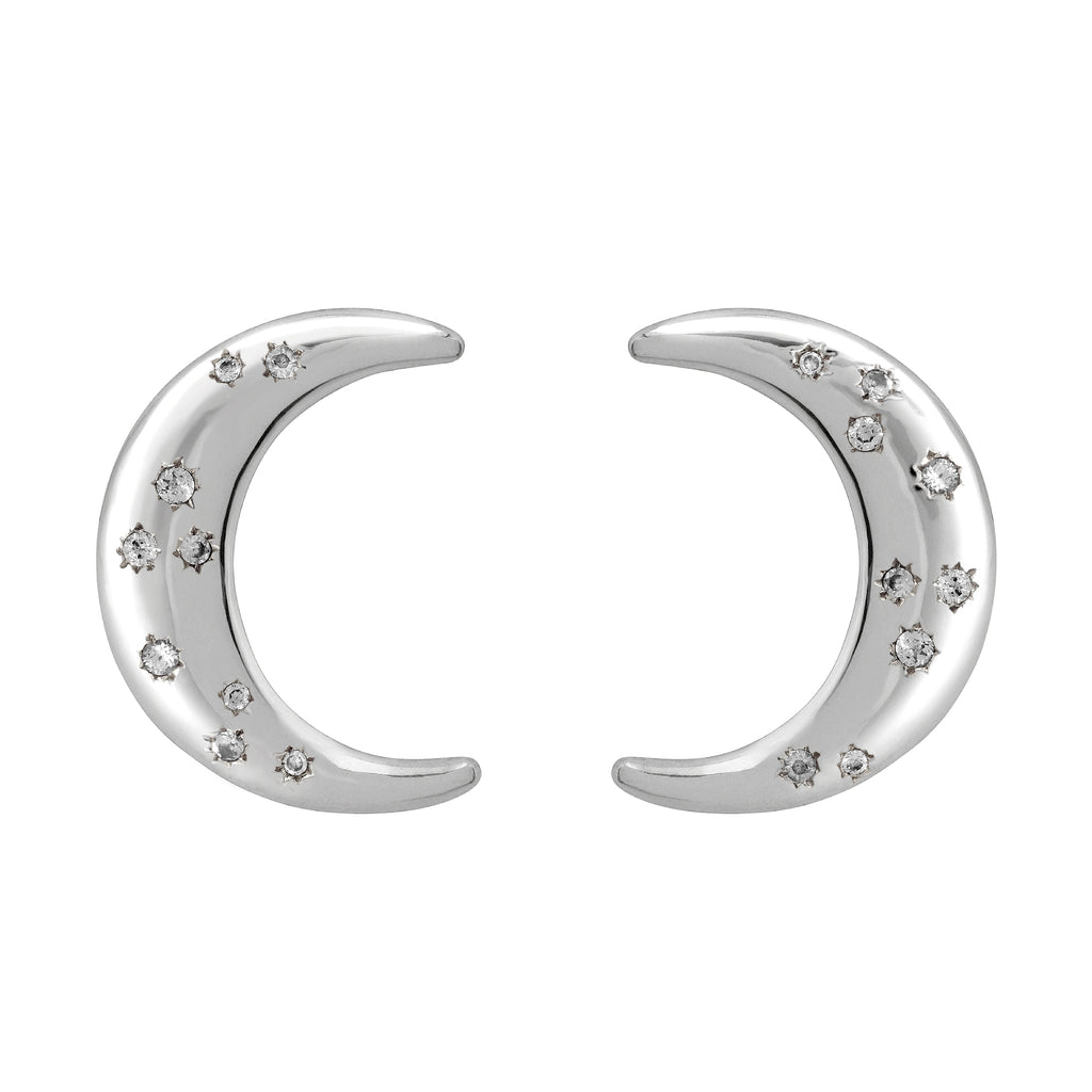 La Luna White Sapphire Earrings-Silver