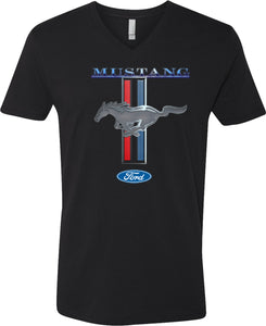 Ford Mustang T-shirt Stripe V-Neck