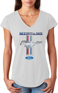 Ladies Ford Mustang T-shirt Stripe Triblend V-Neck