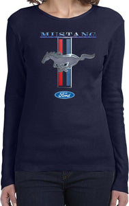 Ladies Ford Mustang T-shirt Stripe Long Sleeve