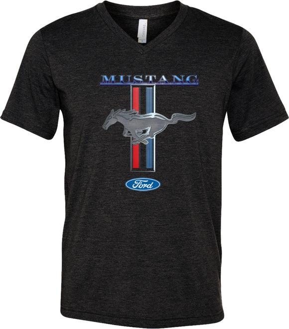 Ford Mustang T-shirt Stripe Tri Blend V-Neck