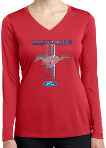Ladies Ford Mustang T-shirt Stripe Dry Wicking Long Sleeve