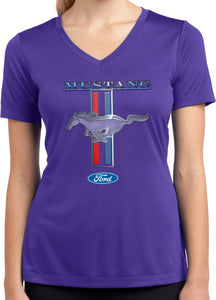 Ladies Ford Mustang T-shirt Stripe Moisture Wicking V-Neck