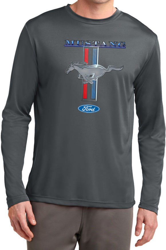 Ford Mustang T-shirt Stripe Moisture Wicking Long Sleeve