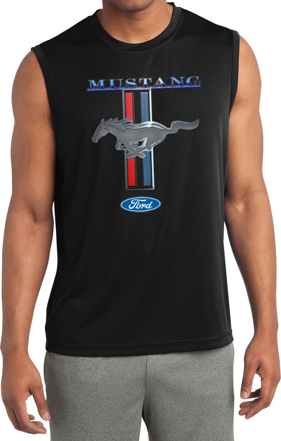 Ford Mustang T-shirt Stripe Sleeveless Competitor Tee