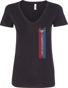 Ladies Ford Mustang T-shirt Pony Logo Tri Bar V-Neck