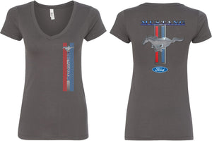 Ladies Ford Mustang T-shirt Stripe V-Neck Front and Back