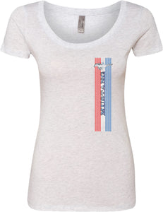 Ladies Ford Mustang T-shirt Pony Logo Tri Bar Scoop Neck