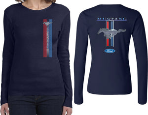 Ladies Ford Mustang T-shirt Stripe Long Sleeve Front and Back