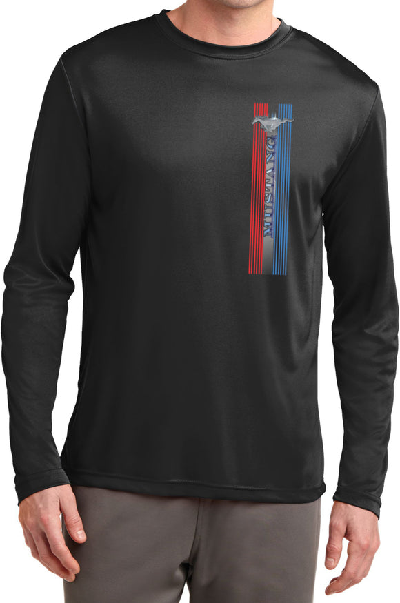 Ford Mustang T-shirt Pony Logo Tri Bar Dry Wicking Long Sleeve