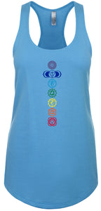 Womens 7 Colored Chakras Racer-back Tank Top
