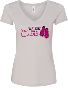 Ladies Breast Cancer T-shirt Walking For a Cure V-Neck