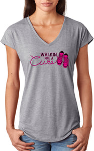 Ladies Breast Cancer T-shirt Walking For a Cure Triblend V-Neck