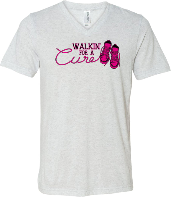 Breast Cancer T-shirt Walking For a Cure Tri Blend V-Neck