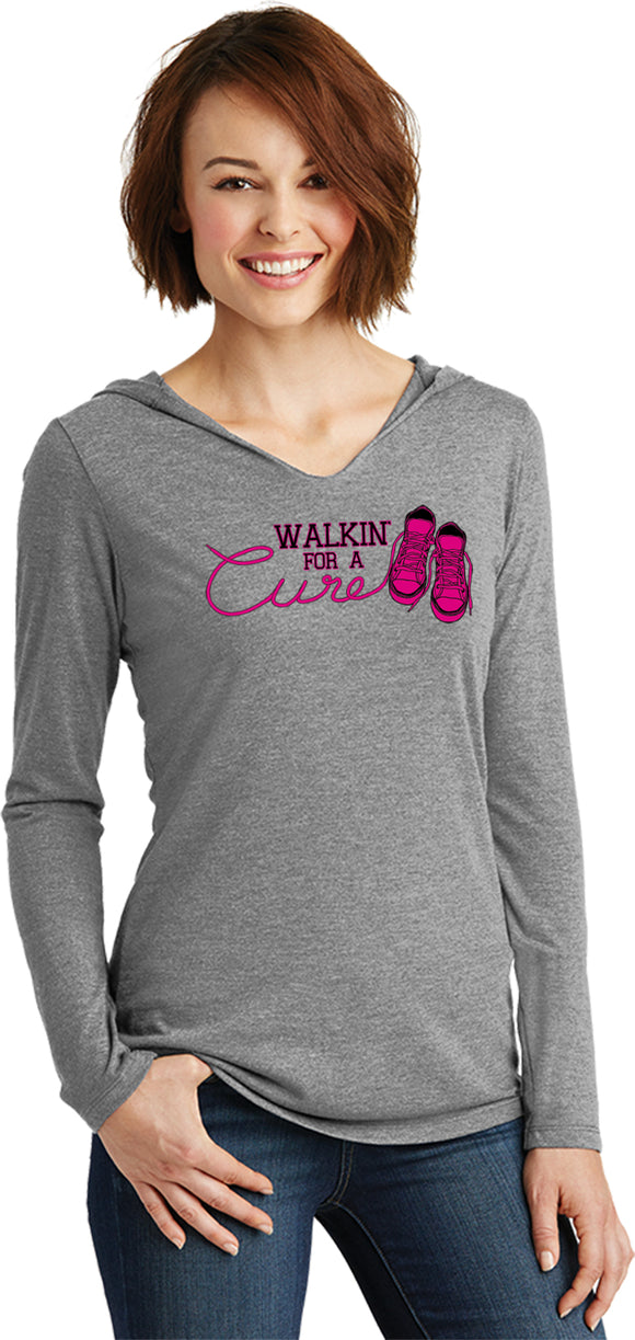 Ladies Breast Cancer T-shirt Walking For a Cure Tri Blend Hoodie