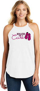 Ladies Breast Cancer Tank Top Walking For a Cure Tri Rocker Tank