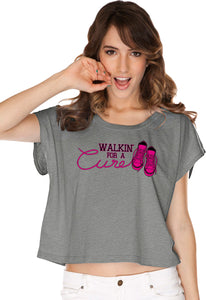 Ladies Breast Cancer T-shirt Walking For a Cure Boxy Tee