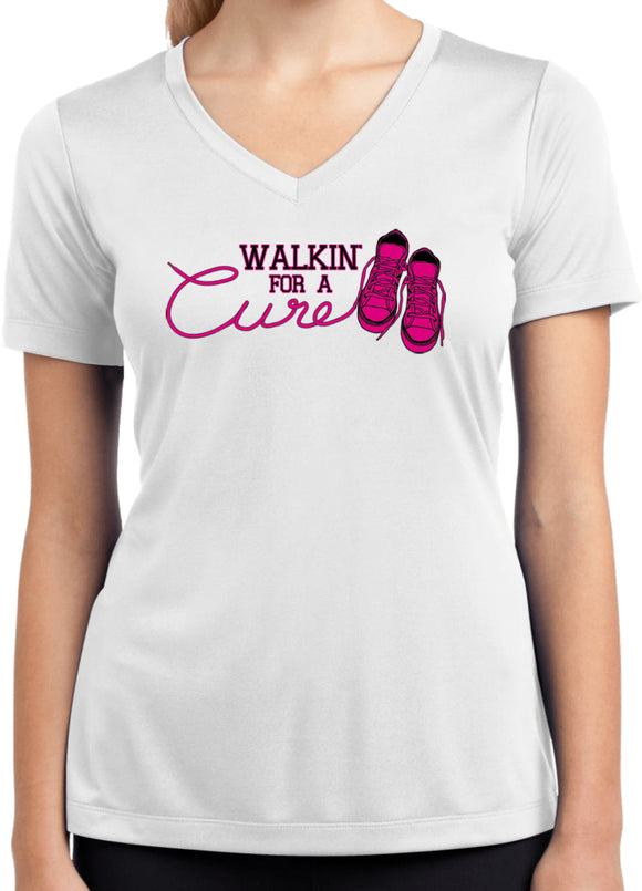 Ladies Breast Cancer Shirt Walking For a Cure Dry Wicking V-Neck
