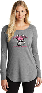 Buy Cool Shirts Bikers Against Breast Cancer Ladies Tri Blend Long Sleeve Shirt
