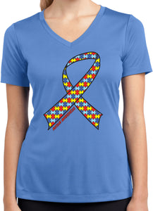 Ladies Autism Ribbon T-shirt Moisture Wicking V-Neck