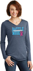 Ladies Breast Cancer T-shirt Battle Mode Tri Blend Hoodie