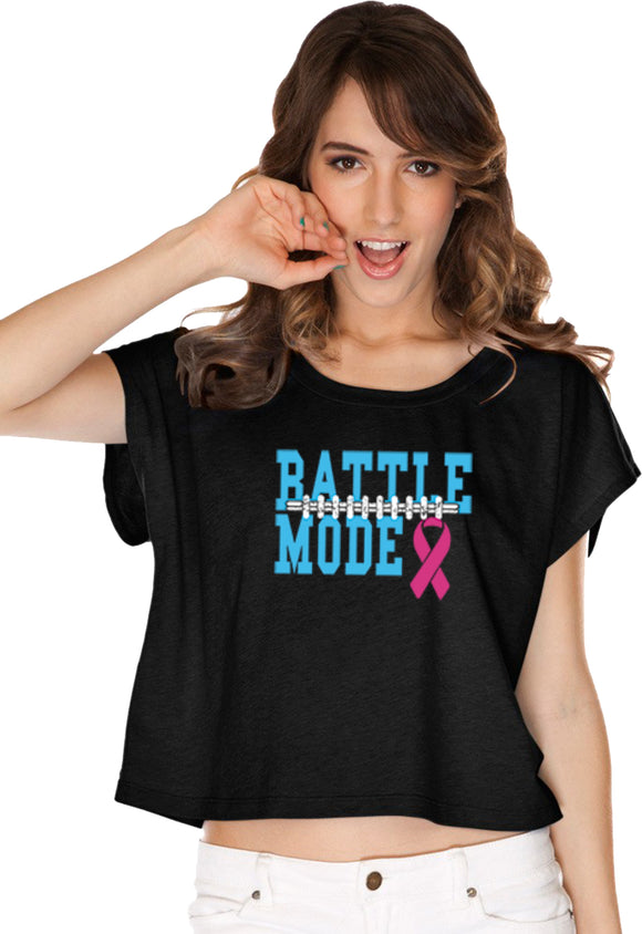 Ladies Breast Cancer T-shirt Battle Mode Boxy Tee