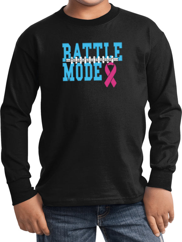 Kids Breast Cancer T-shirt Battle Mode Youth Long Sleeve