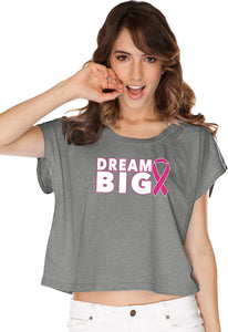 Ladies Breast Cancer Awareness T-shirt Dream Big Boxy Tee