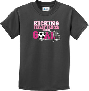 Kids Breast Cancer T-shirt Kicking Cancer is Our Goal Youth Tee